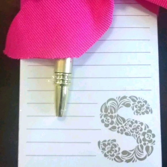 New S Initial Notepad Pen Gift Set pink gold